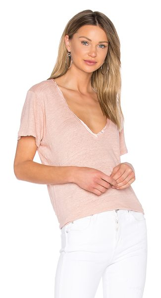 Project Social T Saint Tee in cameo rose - 100% linen. Hand wash cold. Satin trimmed neckline. Raw...