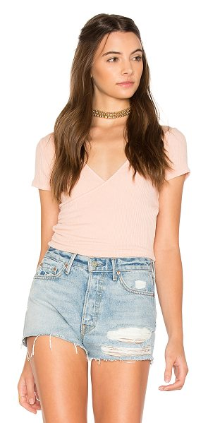 PROJECT SOCIAL T Sparrow Crop Top - Cotton blend. Surplice neckline. Rib knit fabric....
