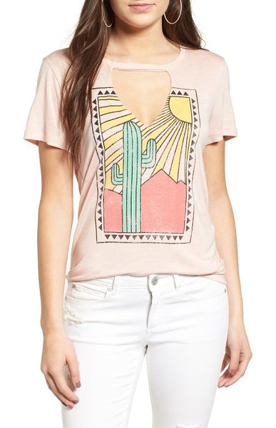PST by Project Social T cactus cutout tee in cameo rose - An oversized cutout offers a playful peek of skin in...