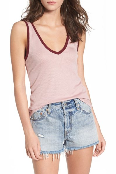 PST by Project Social T ringer tank in mauve/ dark wine - Throw back to the '70s with a supersoft, stretch-knit...
