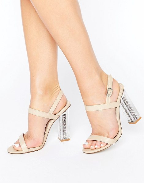 "Public Desire Adley Glitter Clear Heeled Sandals in beige - """"Sandals by Public Desire, Faux leather upper,..."