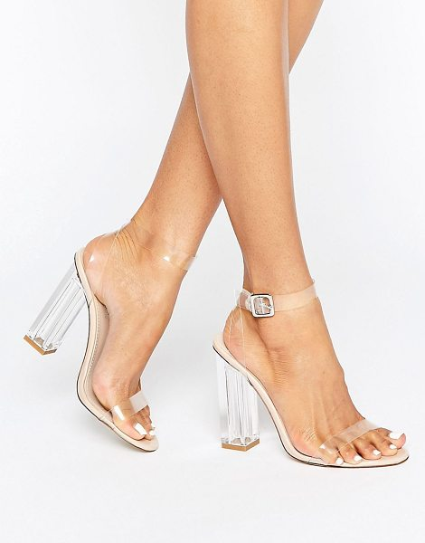 Public Desire Alia clear strap block heeled sandals in beige - Heels by Public Desire, Clear straps, Ankle-strap...