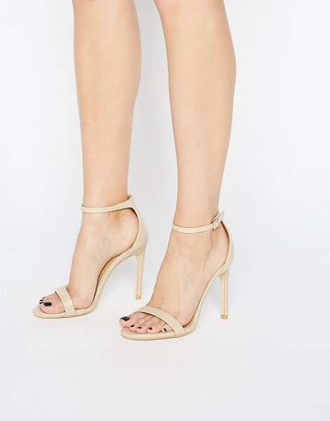 Public Desire Avril Beige Barely There Heeled Sandals in beige - Shoes by Public Desire, Faux-leather upper, Ankle-strap...