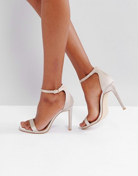 Public Desire Avril Satin Barely There Heeled Sandals in gold - Heels by Public Desire, Satin-style upper, Ankle-strap...