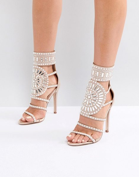 Public Desire cleopatra embellished heeled sandals in rose gold satin in rosegold