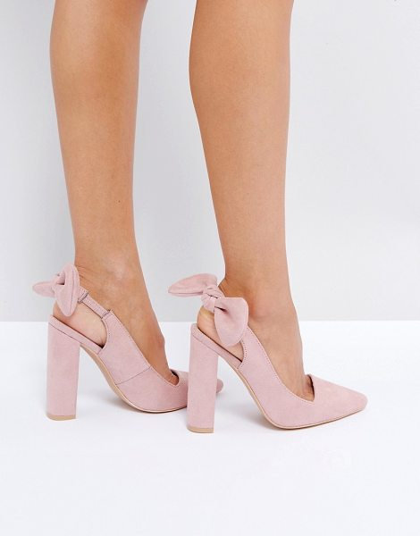 "Public Desire Dover Bow Pointed Heeled Shoes in pink - """"Heels by Public Desire, Faux-suede upper, Slip-on..."