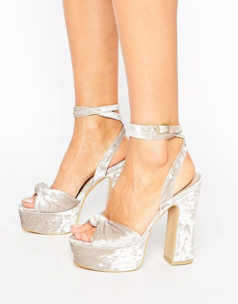 "Public Desire Elaura Cream Velvet Platform Heeled Sandals in cream - """"Heels by Public Desire, Velvet upper, Wrap-around..."