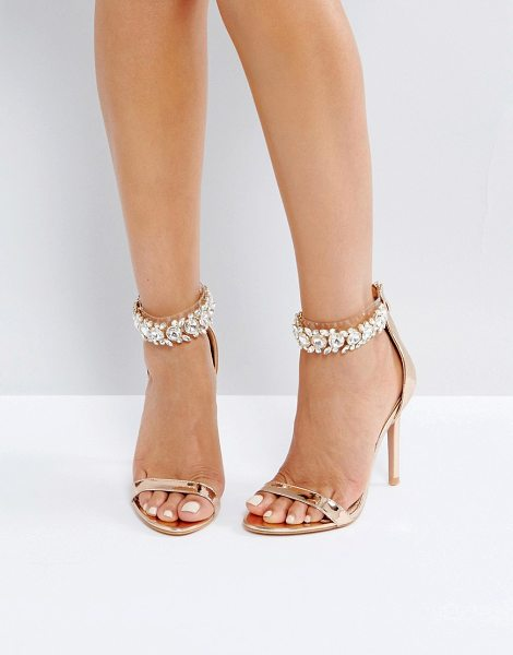 "Public Desire Fiji Rose Gold Crystal Ankle Heeled Sandals in gold - """"Heels by Public Desire, Metallic upper, Embellished..."
