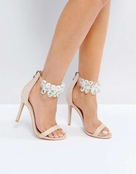 "Public Desire Galaxy Embellished Ankle Heeled Sandals in beige - """"Heels by Public Desire, Faux-leather upper,..."