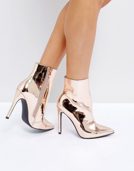 "Public Desire Harlee High Shine Rose Gold Heeled Ankle Boots in gold - """"Boots by Public Desire, Smooth upper, High-shine..."