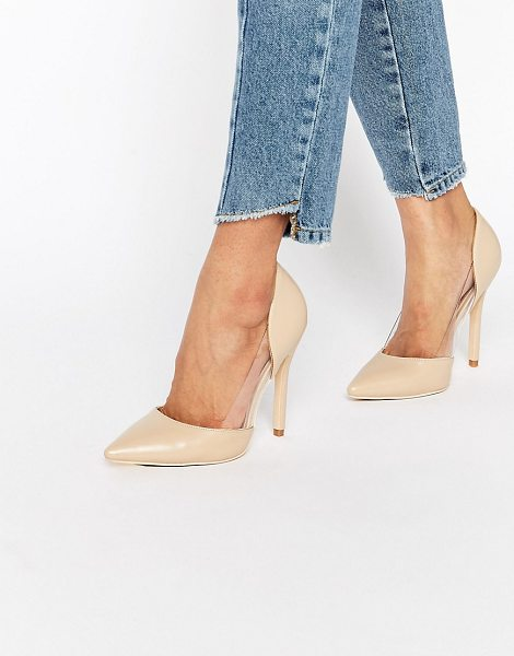 PUBLIC DESIRE Keely Clear Detail Pumps - Shoes by Public Desire, Faux-leather upper, Slip-on...