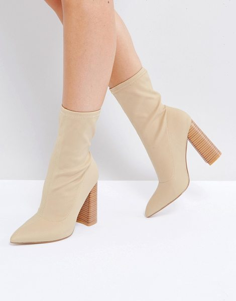 "Public Desire Libby High Heeled Sock Boots in beige - """"Boots by Public Desire, Faux-suede upper, Pull-on..."