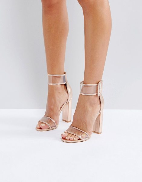 Public Desire mission rose gold clear strap block heeled sandals in rosegold
