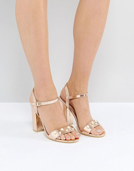 """Public Desire oklahoma rose gold pearl detail heeled sandals in rosegold - """"""""Heels by Public Desire, Faux leather upper, Metallic..."""