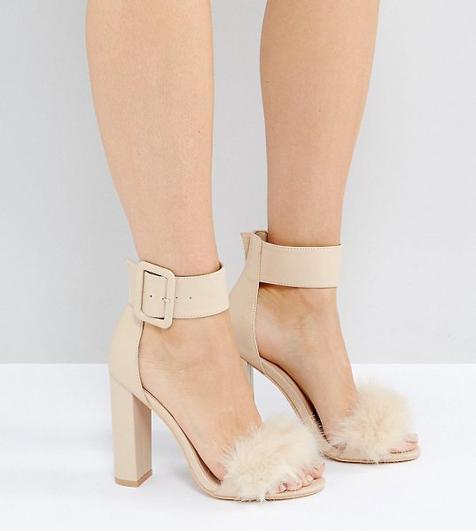 PUBLIC DESIRE Power Faux Fur Block Heeled Sandals - Heels by Public Desire, Faux leather upper, Ankle-strap...