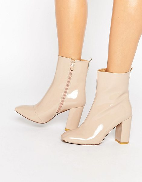 PUBLIC DESIRE Ramona Square Toe Heeled Ankle Boots in beige - Boots by Public Desire, Faux-leather upper, Patent...