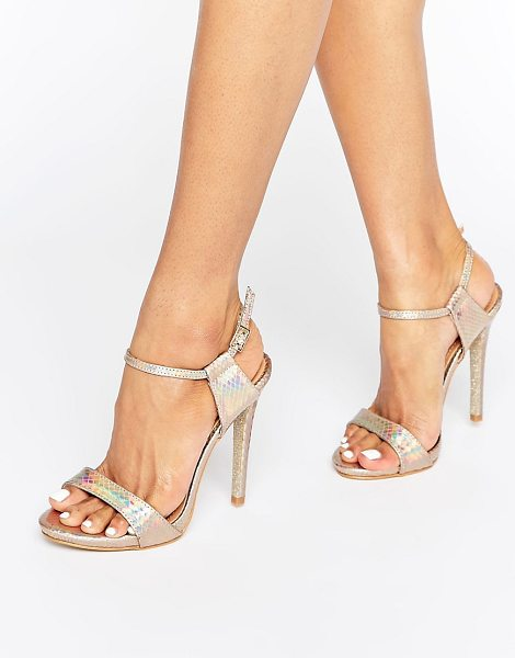 "Public Desire riya gold holographic heeled sandals in goldholographicmet - """"Sandals by Public Desire, Faux-leather upper,..."