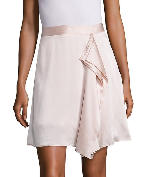 Public School gina draped silk skirt in pink - Light-as-air silk skirt with artfully draped front....