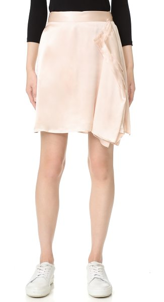 Public School gina skirt in pink - A raw-edged handkerchief overlay gives this silk Public...