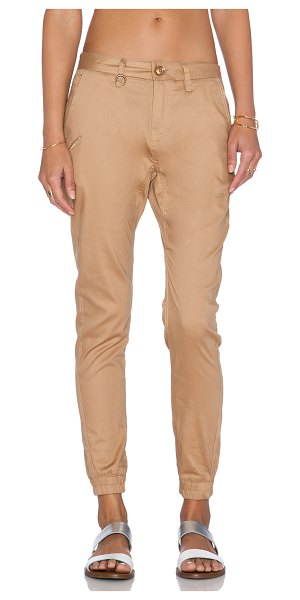 """PUBLISH Hanna jogger in tan - 97% cotton 3% spandex. 16"""""""" in the knee narrows to 9""""""""..."""