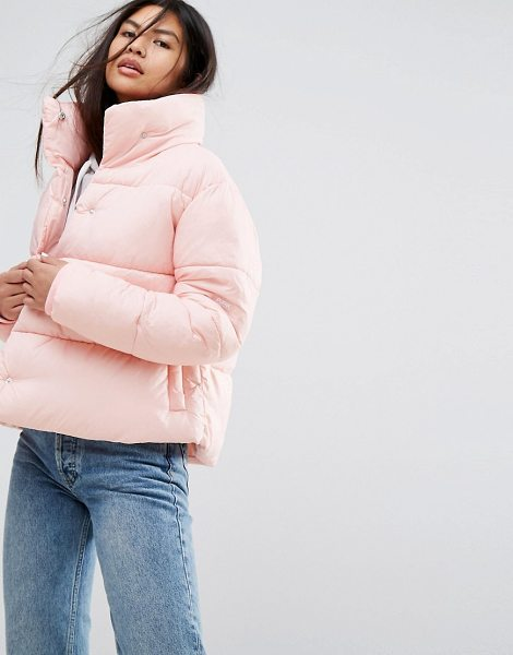 """Puffa Oversized Jacket With Wrap Collar in powderpink - """"""""Jacket by Puffa, Smooth nylon, Padded lining for extra..."""