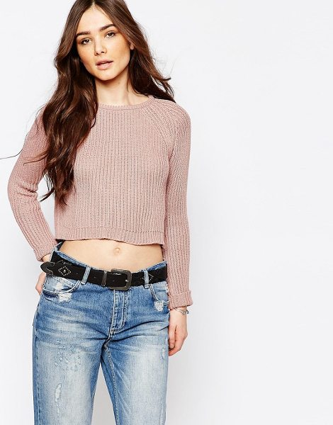 PULL & BEAR Crop Knit Sweater - Sweater by Pull Bear, Chunky ribbed knit, Round...