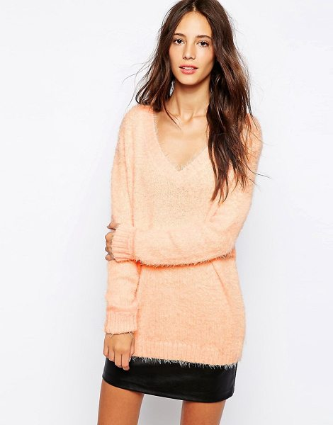 Pull & Bear Fluffy Sweater in pink - Sweater by Pull Bear, Soft-touch, fluffy knit,...