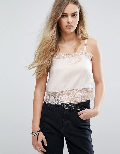 "Pull & Bear Cami Top With Lace Detail in pink - """"Top by Pull Bear, Lightweight woven fabric, Square..."