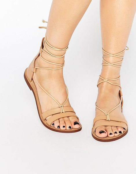 Pull & Bear Leather lace up flat sandal in tan