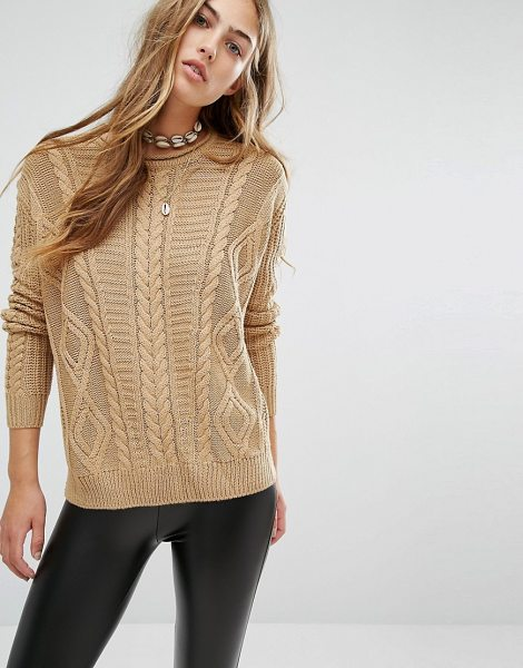 Pull & Bear Mixed Cable Knit Sweater in brown - Sweater by Pull Bear, Chunky knit, Crew neckline, Ribbed...