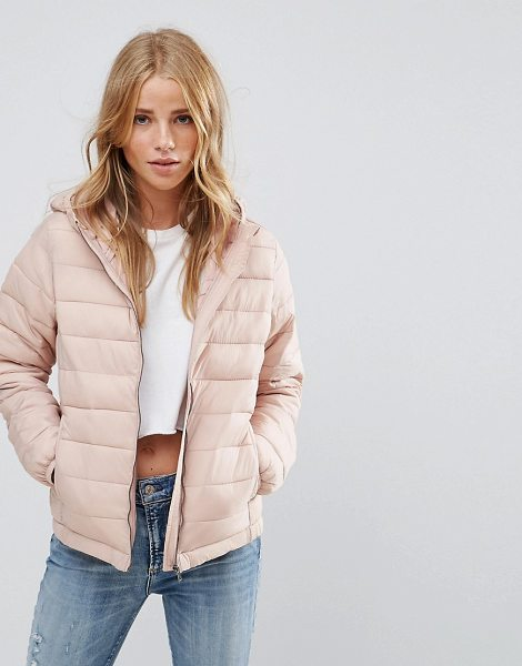"Pull & Bear Padded Jacket With Hood in pink - """"Jacket by Pull Bear, Smooth woven fabric, Soft-touch..."