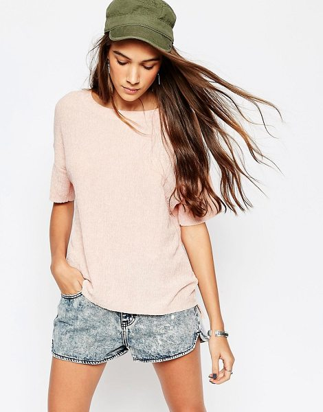 Pull & Bear Texture Tee in pink - T-shirt by Pull Bear, Lightweight textured jersey, Round...