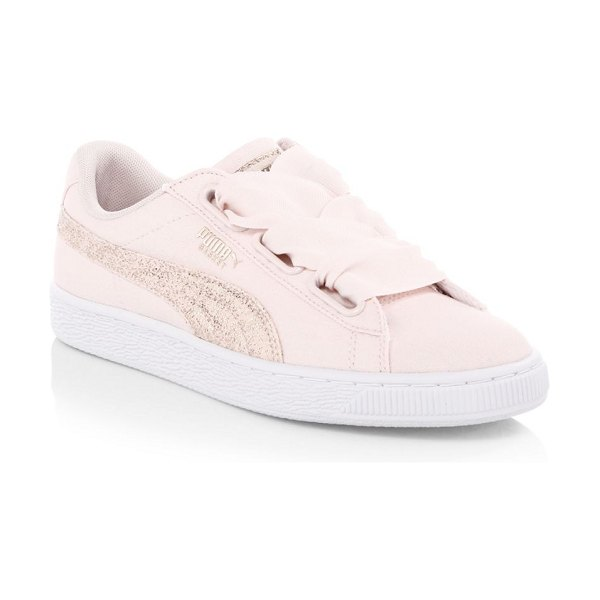 PUMA basket heart canvas low-top sneakers in white rose gold - Striking sequins add dazzling effects to leather...