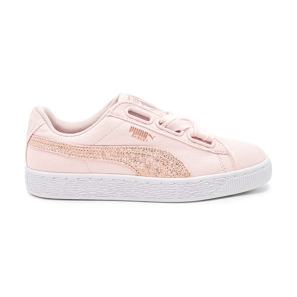PUMA Basket Heart Canvas Sneaker in pink - Canvas upper with rubber sole. Lace-up front. Glitter...