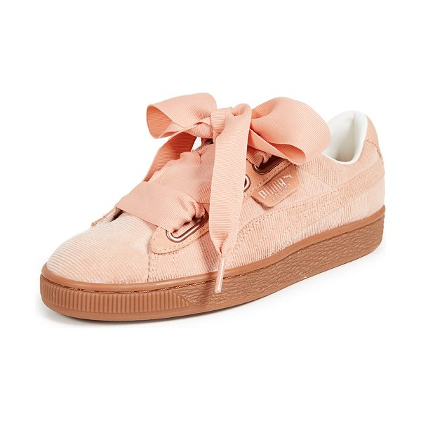 PUMA basket heart corduroy sneakers in dusty coral/dusty coral - Fabric: Corduroy Oversized laces Low tops Flat profile...