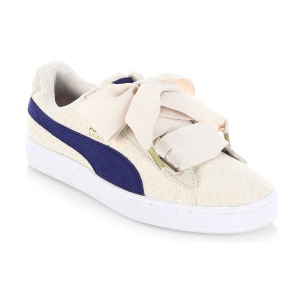 PUMA basket heart denim sneakers in oatmeal - Performance sneakers with oversized lace-up system....