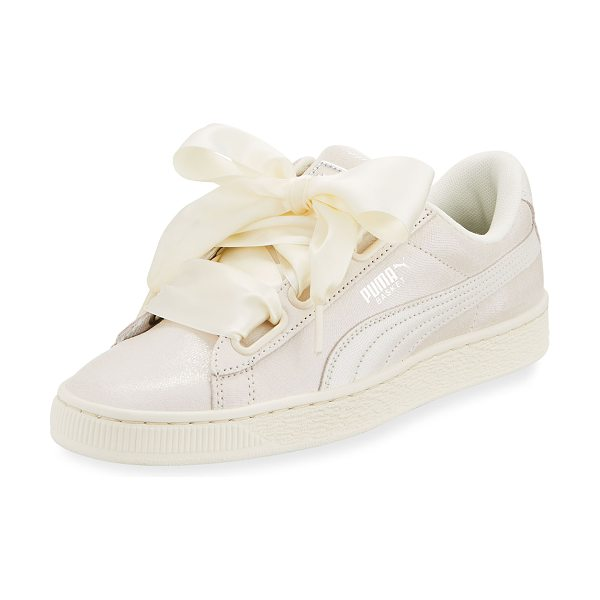 PUMA Basket Heart Lace-Up Sneaker in cream - Puma leather sneaker with signature Formstrip at side....