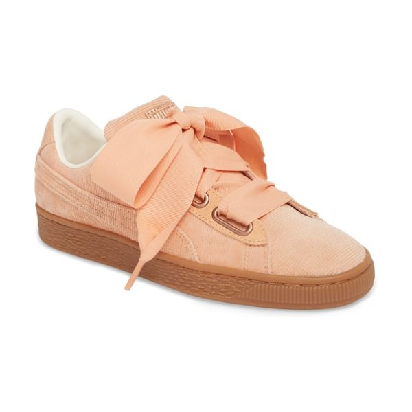 PUMA basket heart sneaker in dusty coral/ dusty coral - Exaggerated wide laces and sporty styling update the...