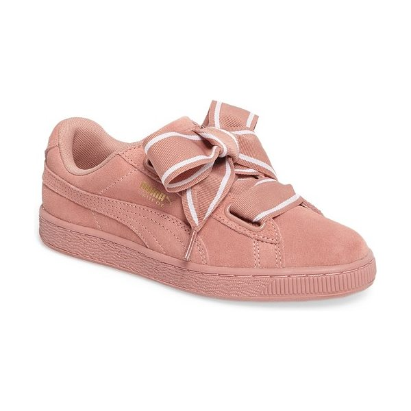 PUMA basket heart sneaker in cameo brown/ cameo brown - Exaggerated wide laces and sporty styling update the...