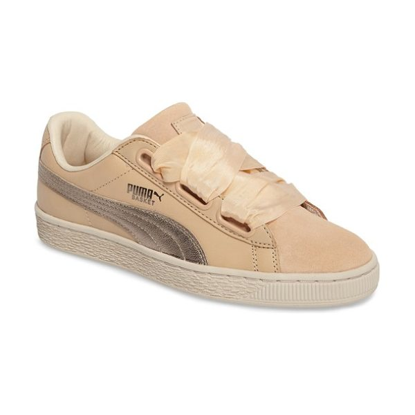 PUMA basket heart sneaker in natural vachetta - Exaggerated wide laces and sporty styling update the...