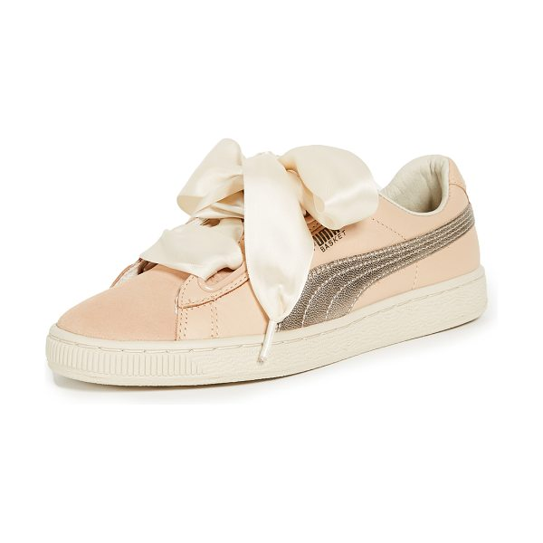 PUMA basket heart up sneakers - Leather: Cowhide Satin laces Wide eyelets Suede tongue...
