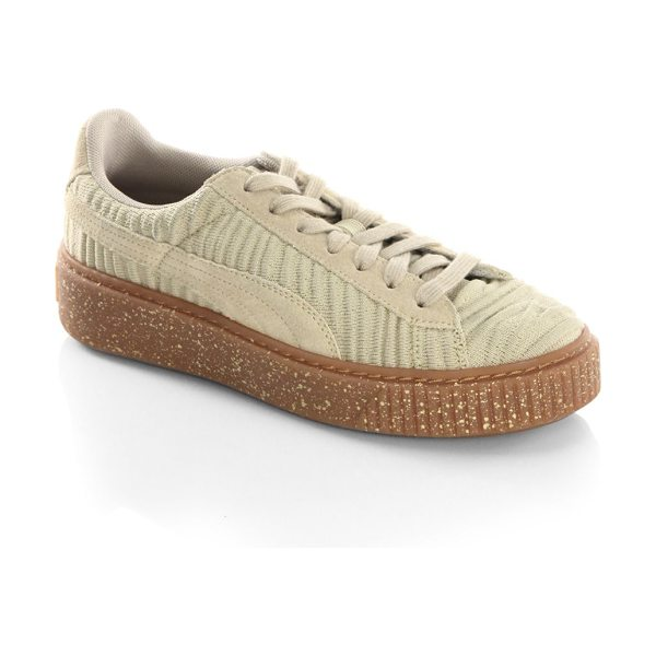 PUMA basket low top sneakers in beige - Textured low top sneakers with ribbed design....