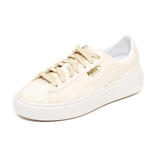 PUMA basket platform patent sneakers - A textured platform adds a sturdy lift to these glossy...