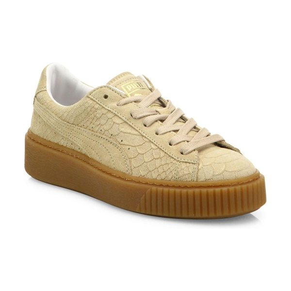 PUMA basket suede platform sneakers in natural vachetta - Snakeskin-embossed suede sneaker on basket platform....