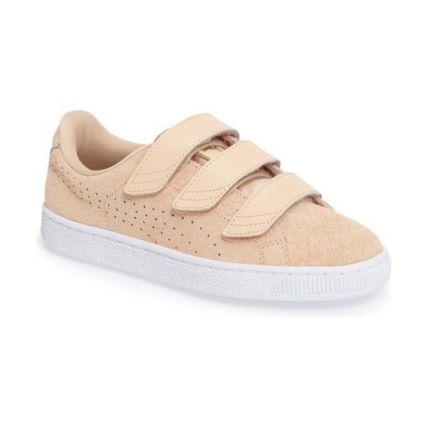 PUMA basket strap exoticskin sneaker in natural/ white - Reptile-textured suede detailed with perforated PUMA...