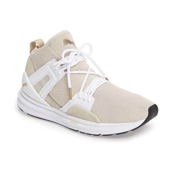 PUMA b.o.g. limitless high top training shoe in oatmeal/ puma white - A high-top training shoe with a knit upper and cushioned...