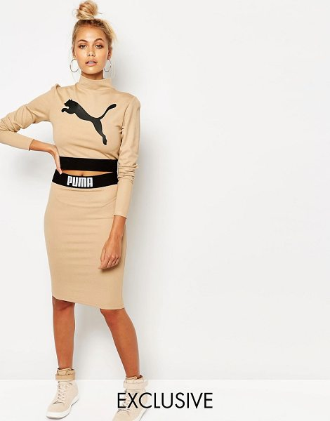 PUMA Camel Bodycon Skirt Co Ord in beige - Midi skirt by Puma, Stretch knit, High rise, Branded...
