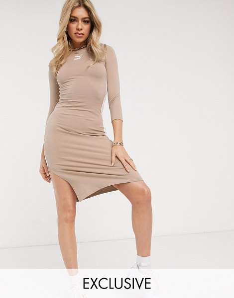 PUMA classics long sleeve dress in tan exclusive to asos-pink in pink