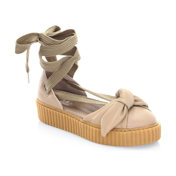 PUMA bandana leather creeper flats in natural - Leather flats with lace-up ankle and front bow. Leather...