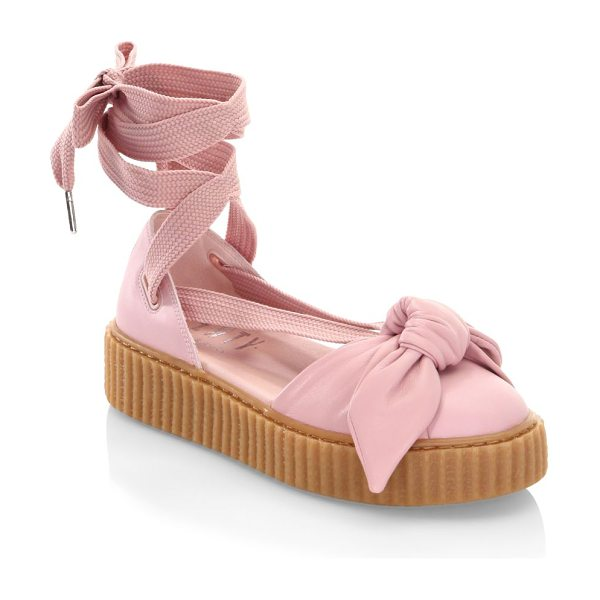 PUMA fenty bandana leather creeper flats in pink - Leather ankle-wrap flat with front bow detail. Leather...